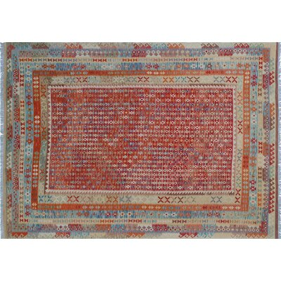 One-of-a-Kind Aulay Kilim Hand-Woven Rectangle Rust Area Rug