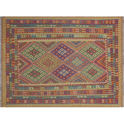 Aulay Kilim Hand-Woven Red Wool Area Rug