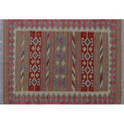 Vallejo Kilim Geometric Hand-Woven Red Indoor Area Rug
