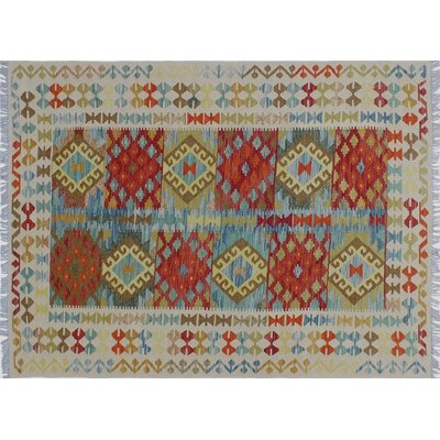One-of-a-Kind Aulay Kilim Hand-Woven Ivory Premium Wool Area Rug