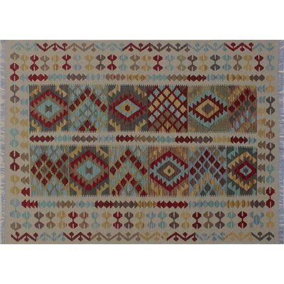 One-of-a-Kind Mcgill Kilim Geometric Hand-Woven Ivory Area Rug