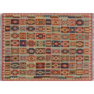 One-of-a-Kind Mcgill Kilim Hand-Woven Rust Premium Wool Area Rug