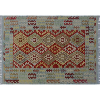 One-of-a-Kind Rucker Kilim Southwestern Hand-Woven Red Indoor Wool Area Rug