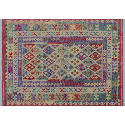 Aulay Kilim Hand-Woven Geometric Red Area Rug