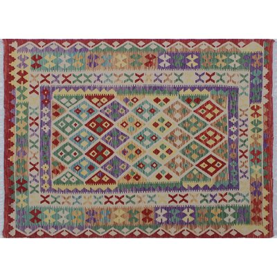 One-of-a-Kind Aulay Kilim Hand-Woven Geometric Red Wool Area Rug