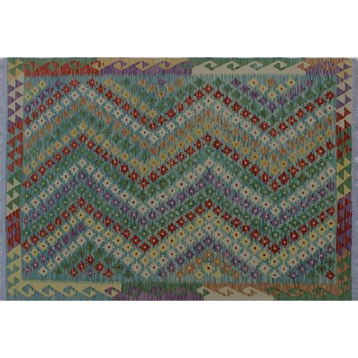 One-of-a-Kind Aulay Kilim Hand-Woven Rectangle Blue Area Rug