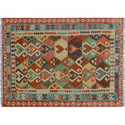 Vallejo Kilim Hand-Woven Rust Indoor Area Rug