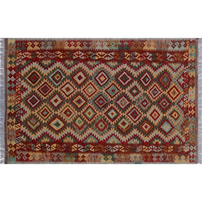 One-of-a-Kind Aulay Kilim Hand-Woven Green Premium Wool Area Rug