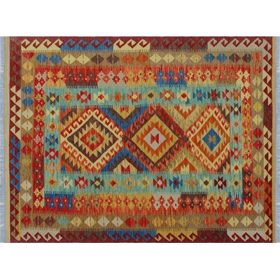 Aulay Kilim Southwestern Hand-Woven Red Area Rug