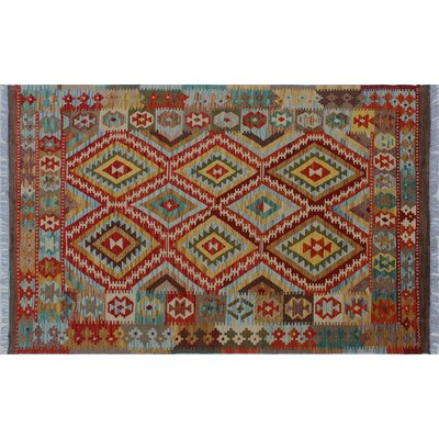 Aulay Kilim Hand-Woven Rectangle Red Wool Area Rug