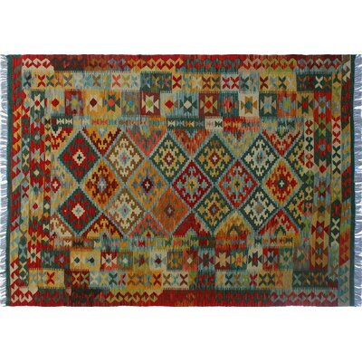 One-of-a-Kind Cortez Kilim Hand-Woven Rectangle Green Area Rug