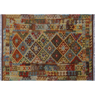 One-of-a-Kind Rucker Kilim Hand-Woven Rectangle Brown Area Rug