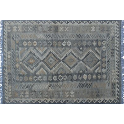 One-of-a-Kind Cortez Kilim Hand-Woven Gray Area Rug