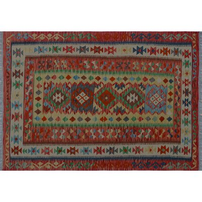 One-of-a-Kind Vallejo Kilim Hand-Woven Red Indoor Wool Area Rug