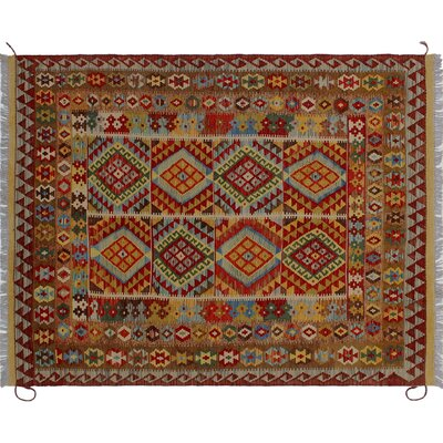 One-of-a-Kind Rucker Kilim Southwestern Hand-Woven Gold Area Rug