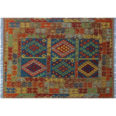 One-of-a-Kind Cortez Kilim Hand-Woven Geometric Blue Area Rug