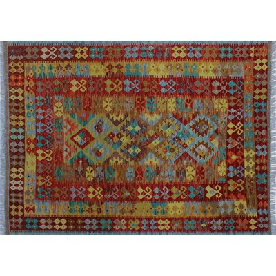 Aulay Kilim Hand-Woven Gold Premium Wool Area Rug