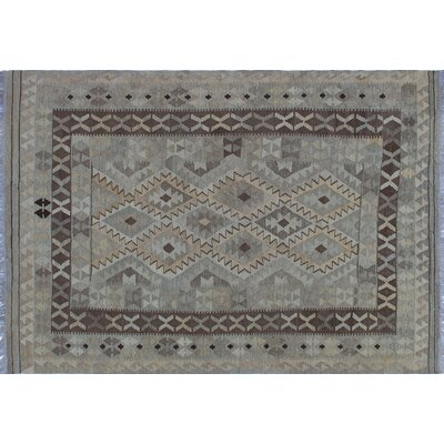Vallejo Kilim Hand-Woven Rectangle Beige Wool Area Rug