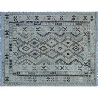 One-of-a-Kind Cortez Kilim Hand-Woven Geometric Gray/Blue Area Rug