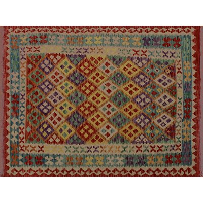 One-of-a-Kind Rucker Kilim Hand-Woven Rectangle Rust Wool Area Rug