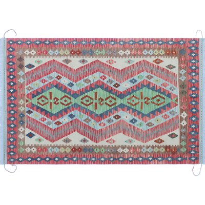One-of-a-Kind Mcgill Kilim Southwestern Hand-Woven Red Premium Wool Area Rug