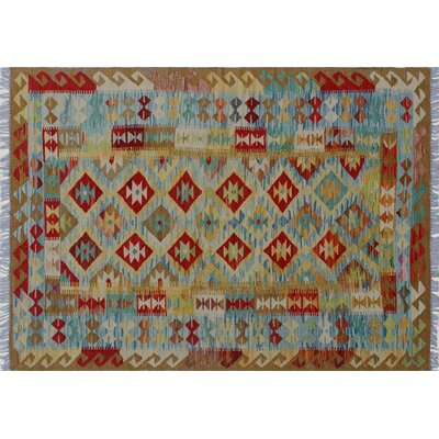 One-of-a-Kind Aulay Kilim Hand-Woven Gold Area Rug