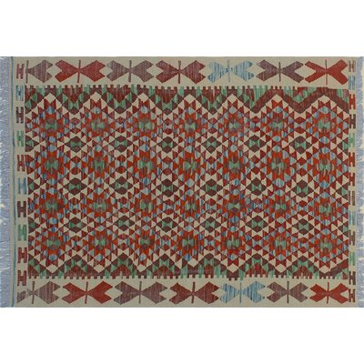 One-of-a-Kind Rucker Kilim Intricate Geometric Hand-Woven Red Area Rug