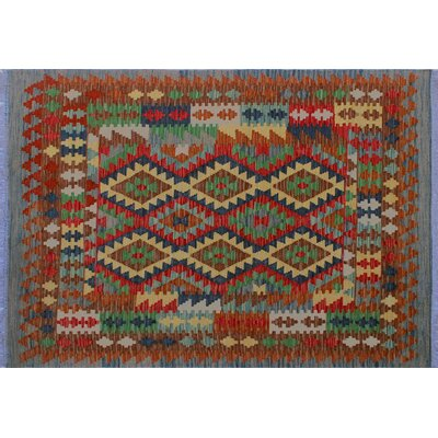 One-of-a-Kind Mcgill Kilim Southwestern Hand-Woven Blue Area Rug