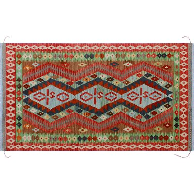 One-of-a-Kind Mcgill Kilim Hand-Woven Brilliant Red Area Rug