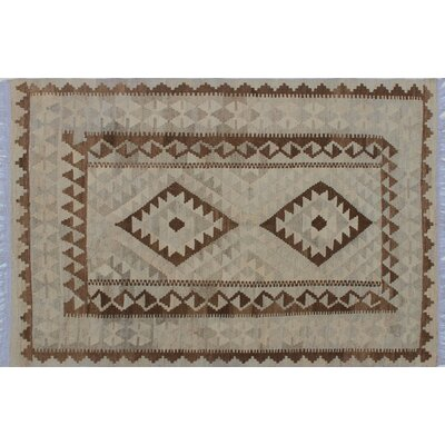 One-of-a-Kind Vallejo Kilim Geometric Hand-Woven Beige Wool Area Rug
