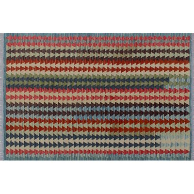 Aulay Kilim Hand-Woven Blue Wool Area Rug
