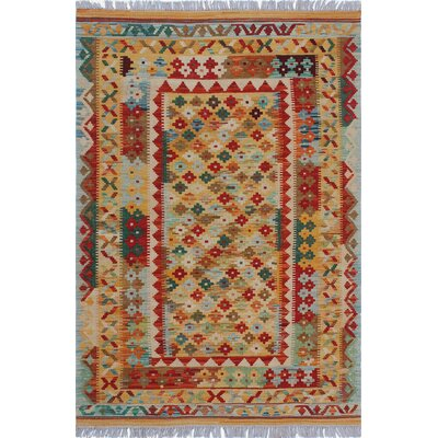 One-of-a-Kind Cortez Kilim Hand-Woven Variegated Red Area Rug