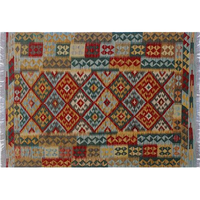 One-of-a-Kind Aulay Kilim Southwestern Hand-Woven Gold Area Rug