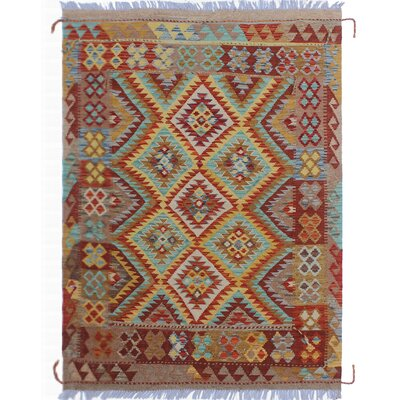 Vallejo Kilim Hand-Woven Rectangle Gold Wool Area Rug