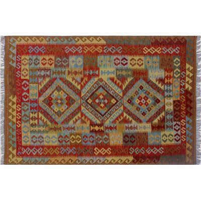 One-of-a-Kind Vallejo Kilim Hand-Woven Rectangle Rust Area Rug