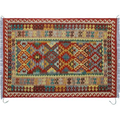 One-of-a-Kind Cortez Kilim Hand-Woven Red Area Rug