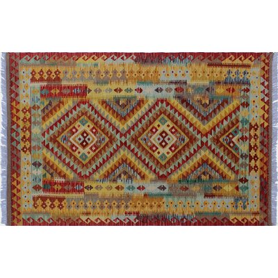 One-of-a-Kind Vallejo Kilim Hand-Woven Rust Wool Area Rug