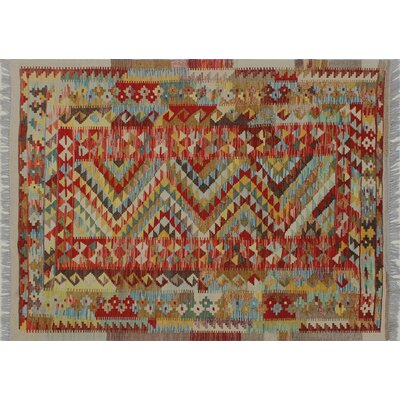 One-of-a-Kind Cortez Kilim Hand-Woven Ivory Area Rug