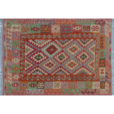 Vallejo Kilim Hand-Woven Rectangle Red Area Rug