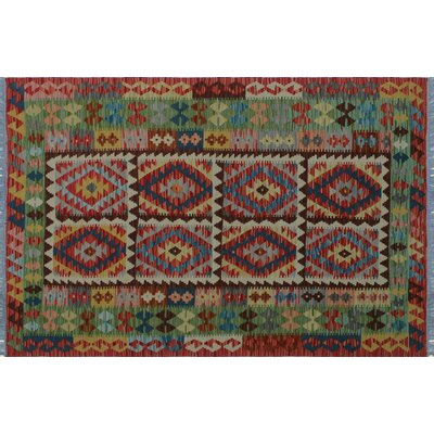 One-of-a-Kind Mcgill Kilim Hand-Woven Red Premium Wool Area Rug