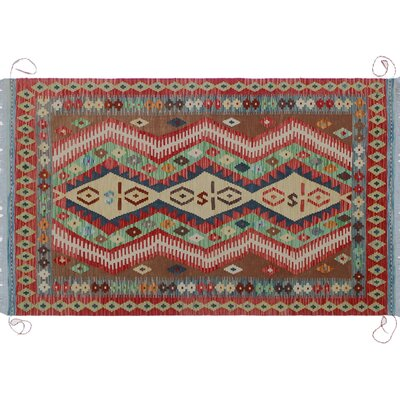 One-of-a-Kind Vallejo Kilim Hand-Woven Red Wool Area Rug