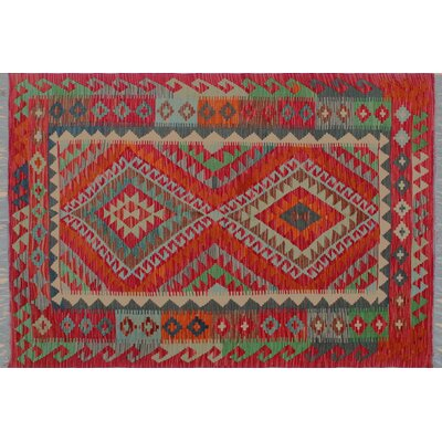 One-of-a-Kind Aulay Kilim Hand-Woven Red Geometric Area Rug