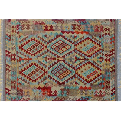 Vallejo Kilim Geometric Hand-Woven Red Area Rug