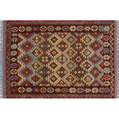 One-of-a-Kind Aulay Kilim Hand-Woven Red Fringe Area Rug