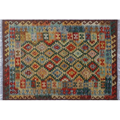 Aulay Southwestern Kilim Hand-Woven Rectangle Gold Area Rug