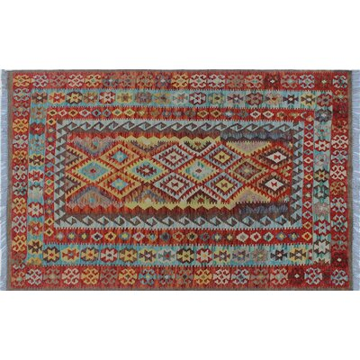 One-of-a-Kind Vallejo Kilim Geometric Hand-Woven Rust Area Rug