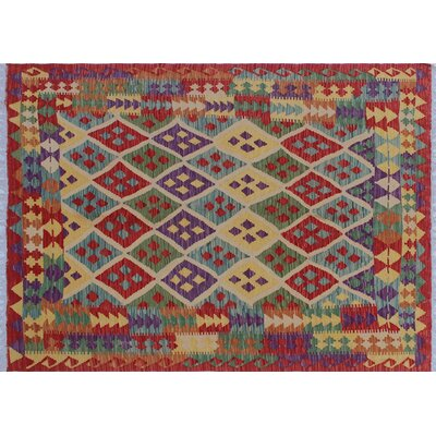 Aulay Geometric Kilim Hand-Woven Red Area Rug