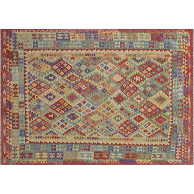 Aulay Kilim Flat-weave Hand-Woven Red Wool Area Rug