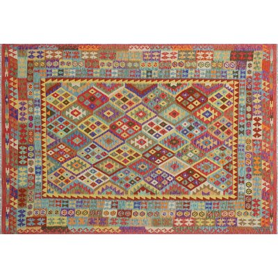 Cortez Kilim Hand-Woven Red Wool Area Rug