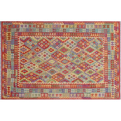 One-of-a-Kind Rucker Kilim Geometric Hand-Woven Rectangle Red Area Rug